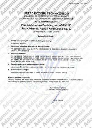 Załącznik do certyfikatu systemu jakości wg dyrektywy 2014/68/UE